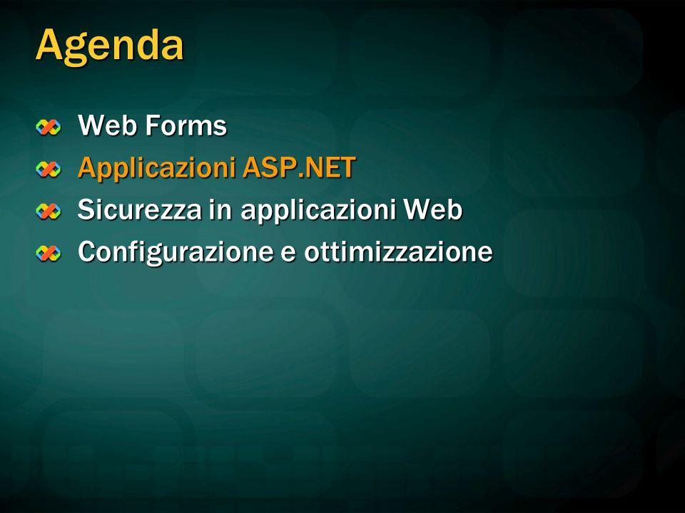 Agenda Web Forms Applicazioni ASP.NET Sicurezza in applicazioni Web Configurazione e ottimizzazione
