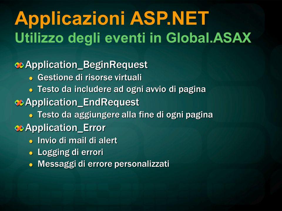 Application_BeginRequest Gestione di risorse virtuali Gestione di risorse virtuali Testo da includere ad ogni avvio di pagina Testo da includere ad ogni avvio di paginaApplication_EndRequest Testo da aggiungere alla fine di ogni pagina Testo da aggiungere alla fine di ogni paginaApplication_Error Invio di mail di alert Invio di mail di alert Logging di errori Logging di errori Messaggi di errore personalizzati Messaggi di errore personalizzati Applicazioni ASP.NET Utilizzo degli eventi in Global.ASAX