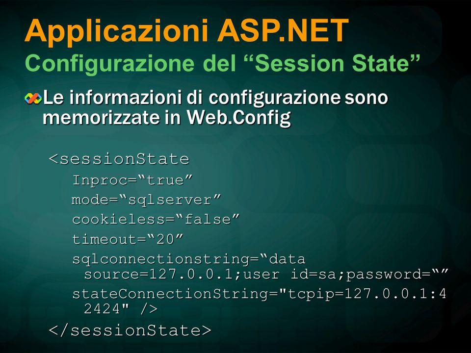 Le informazioni di configurazione sono memorizzate in Web.Config <sessionStateInproc= true mode= sqlserver cookieless= false timeout= 20 sqlconnectionstring= data source=127.0.0.1;user id=sa;password= stateConnectionString= tcpip=127.0.0.1:4 2424 /> </sessionState> Applicazioni ASP.NET Configurazione del Session State