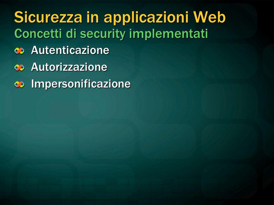 Sicurezza in applicazioni Web Concetti di security implementati AutenticazioneAutorizzazioneImpersonificazione