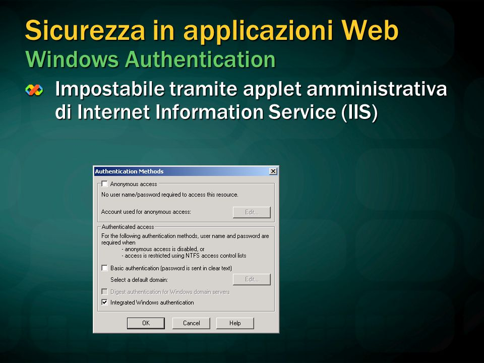 Sicurezza in applicazioni Web Windows Authentication Impostabile tramite applet amministrativa di Internet Information Service (IIS)