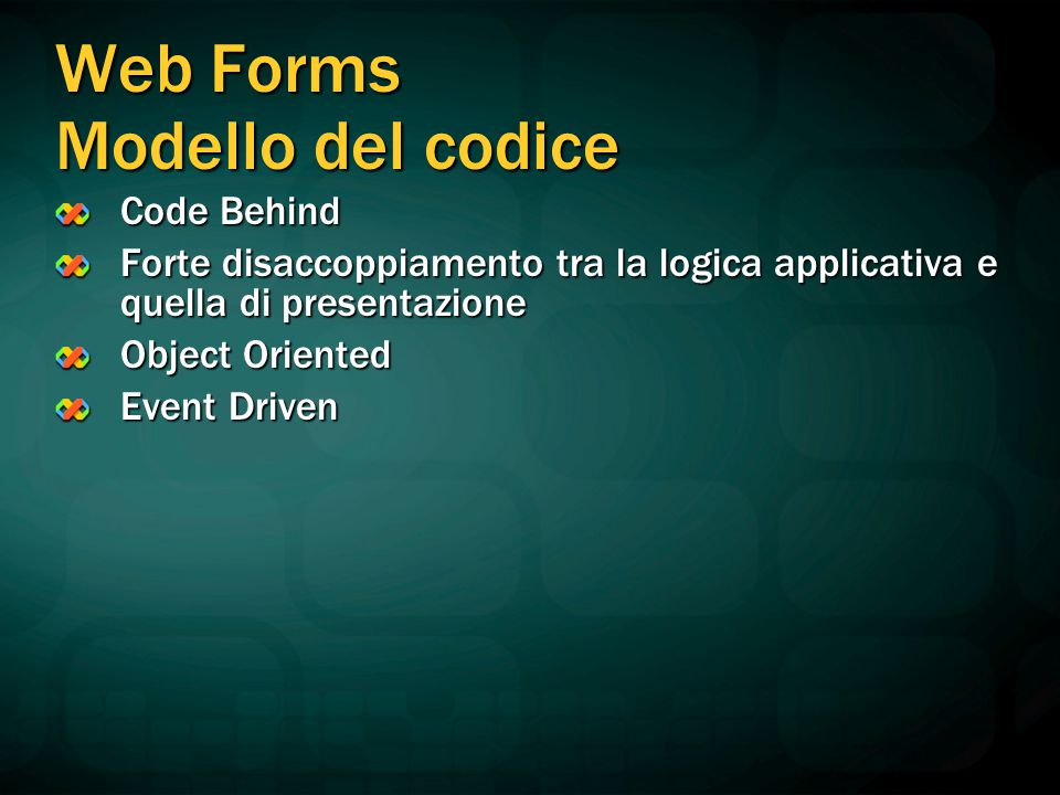 Web Forms Modello del codice Code Behind Forte disaccoppiamento tra la logica applicativa e quella di presentazione Object Oriented Event Driven
