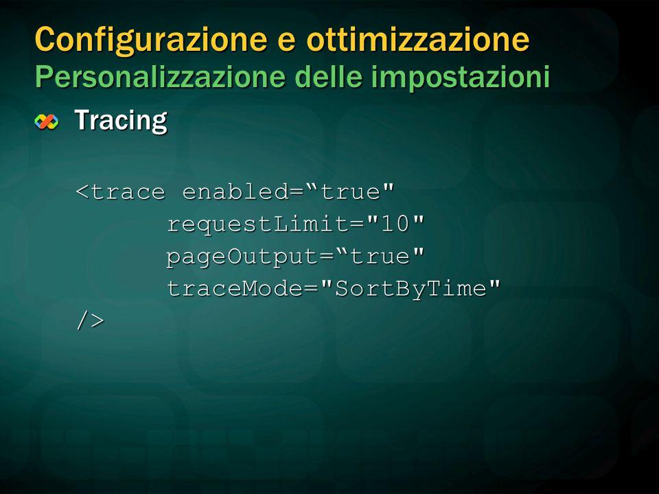 Configurazione e ottimizzazione Personalizzazione delle impostazioni Tracing <trace enabled= true requestLimit= 10 pageOutput= true traceMode= SortByTime />