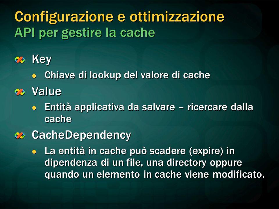 Configurazione e ottimizzazione API per gestire la cache Key Chiave di lookup del valore di cache Chiave di lookup del valore di cacheValue Entità applicativa da salvare – ricercare dalla cache Entità applicativa da salvare – ricercare dalla cacheCacheDependency La entità in cache può scadere (expire) in dipendenza di un file, una directory oppure quando un elemento in cache viene modificato.