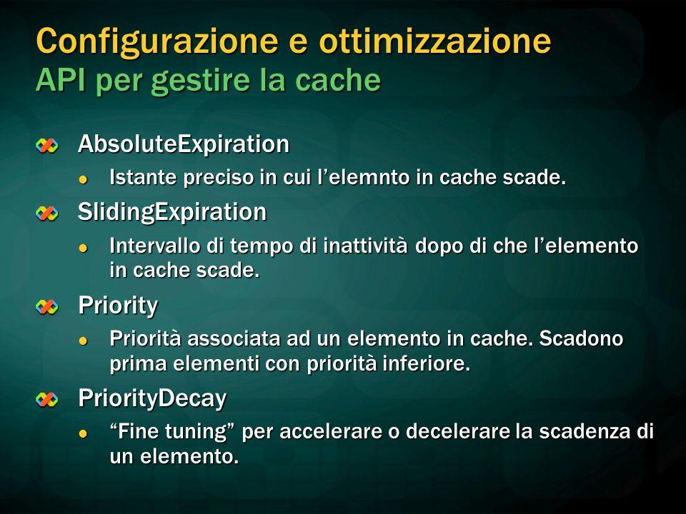 Configurazione e ottimizzazione API per gestire la cache AbsoluteExpiration Istante preciso in cui l'elemnto in cache scade.