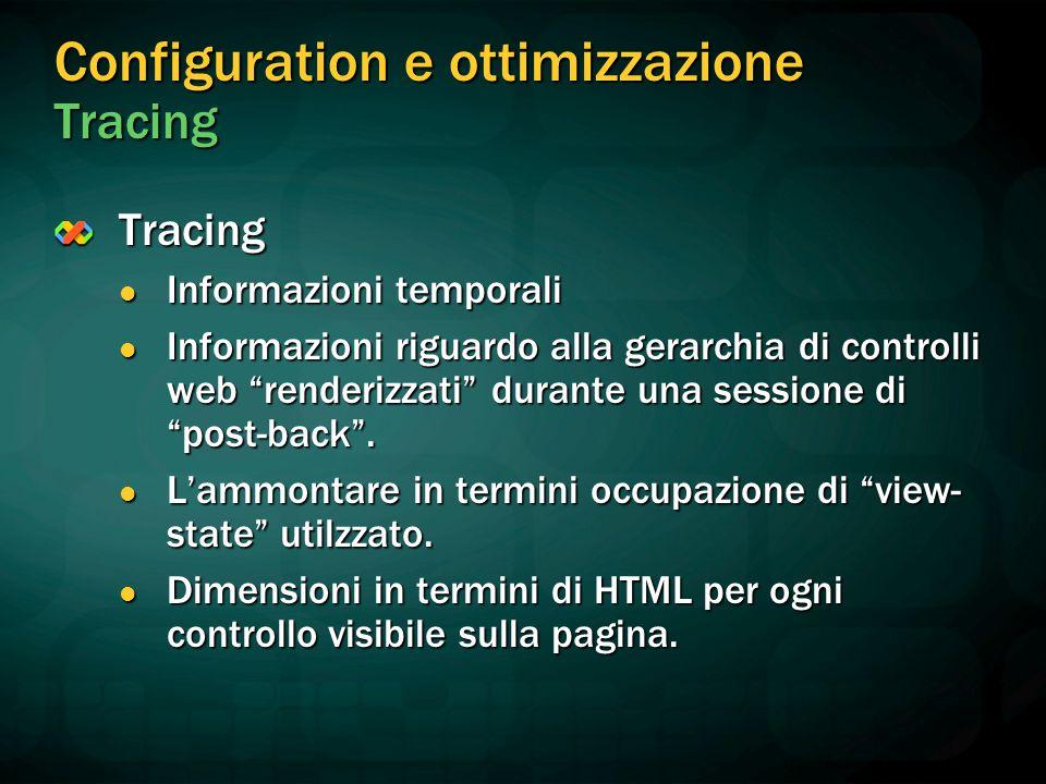Configuration e ottimizzazione Tracing Tracing Informazioni temporali Informazioni temporali Informazioni riguardo alla gerarchia di controlli web renderizzati durante una sessione di post-back .