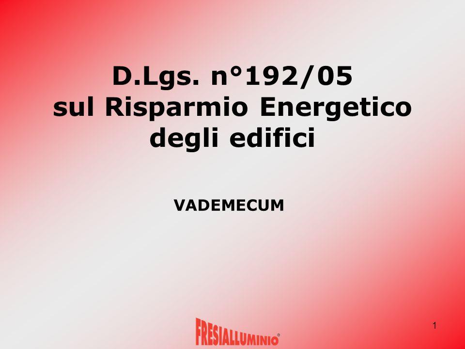 1 D.Lgs. n°192/05 sul Risparmio Energetico degli edifici VADEMECUM