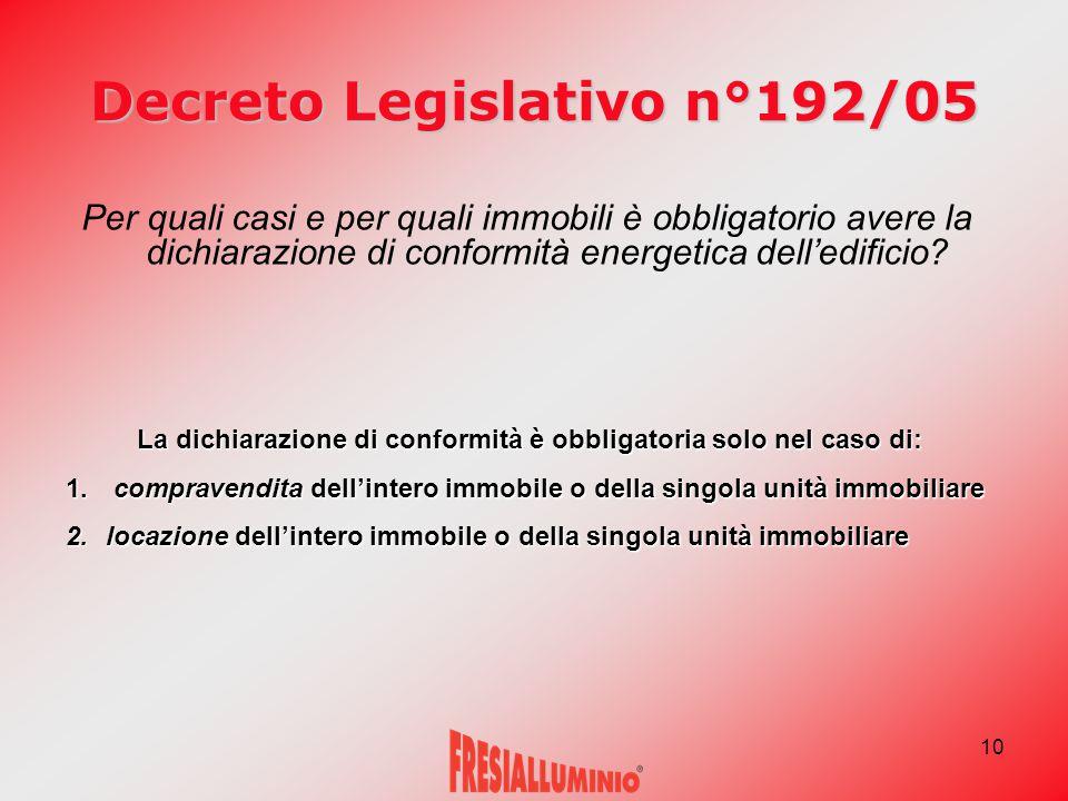 10 Decreto Legislativo n°192/05 Per quali casi e per quali immobili è obbligatorio avere la dichiarazione di conformità energetica dell'edificio.