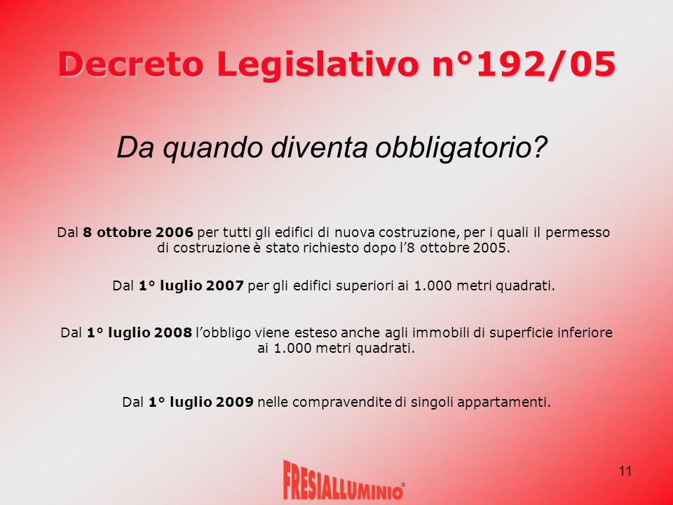 11 Decreto Legislativo n°192/05 Dal 1° luglio 2007 per gli edifici superiori ai 1.000 metri quadrati. Dal 1° luglio 2008 l'obbligo viene esteso anche