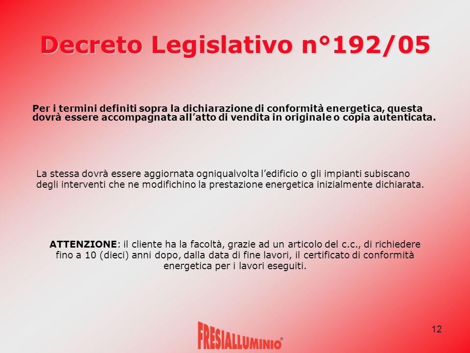 12 Decreto Legislativo n°192/05 Per i termini definiti sopra la dichiarazione di conformità energetica, questa dovrà essere accompagnata all'atto di vendita in originale o copia autenticata.
