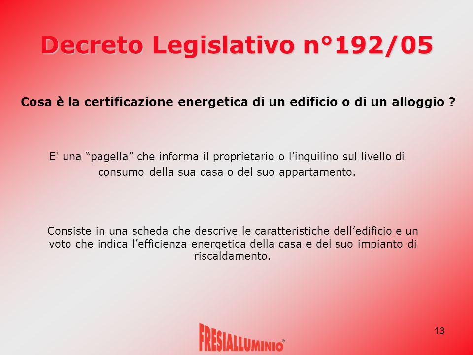 """13 Decreto Legislativo n°192/05 Cosa è la certificazione energetica di un edificio o di un alloggio ? E' una """"pagella"""" che informa il proprietario o l"""