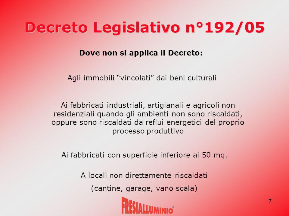 """7 Decreto Legislativo n°192/05 Dove non si applica il Decreto: Agli immobili """"vincolati"""" dai beni culturali Ai fabbricati industriali, artigianali e a"""