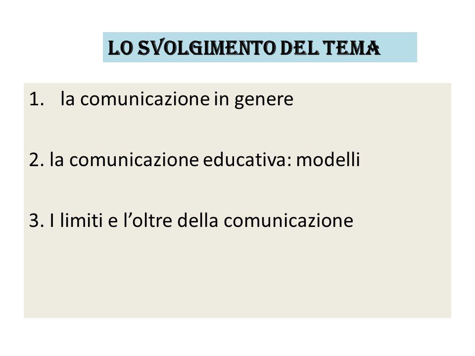 1.la comunicazione in genere 2. la comunicazione educativa: modelli 3. I limiti e l'oltre della comunicazione Lo svolgimento del tema