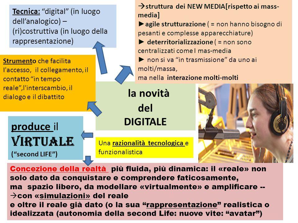 """la novità del DIGITALE Tecnica: """"digital"""" (in luogo dell'analogico) – (ri)costruttiva (in luogo della rappresentazione)  struttura dei NEW MEDIA[risp"""