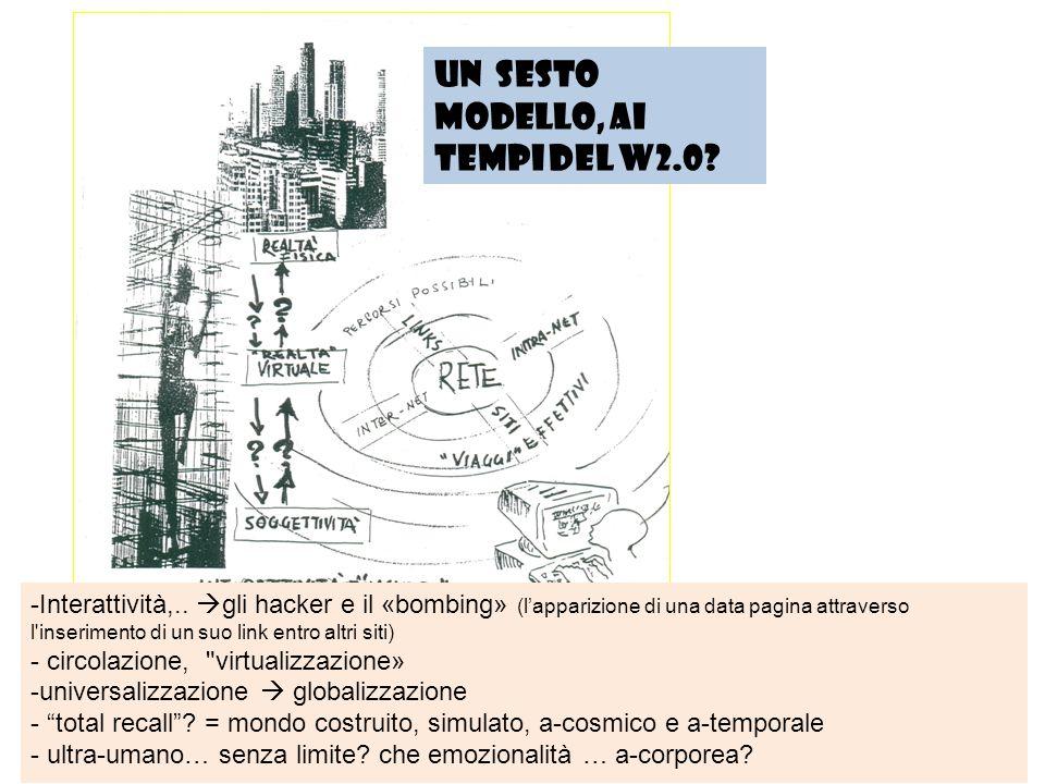 Un sesto modello, ai tempi del W2.0? -Interattività,..  gli hacker e il «bombing» (l'apparizione di una data pagina attraverso l'inserimento di un su