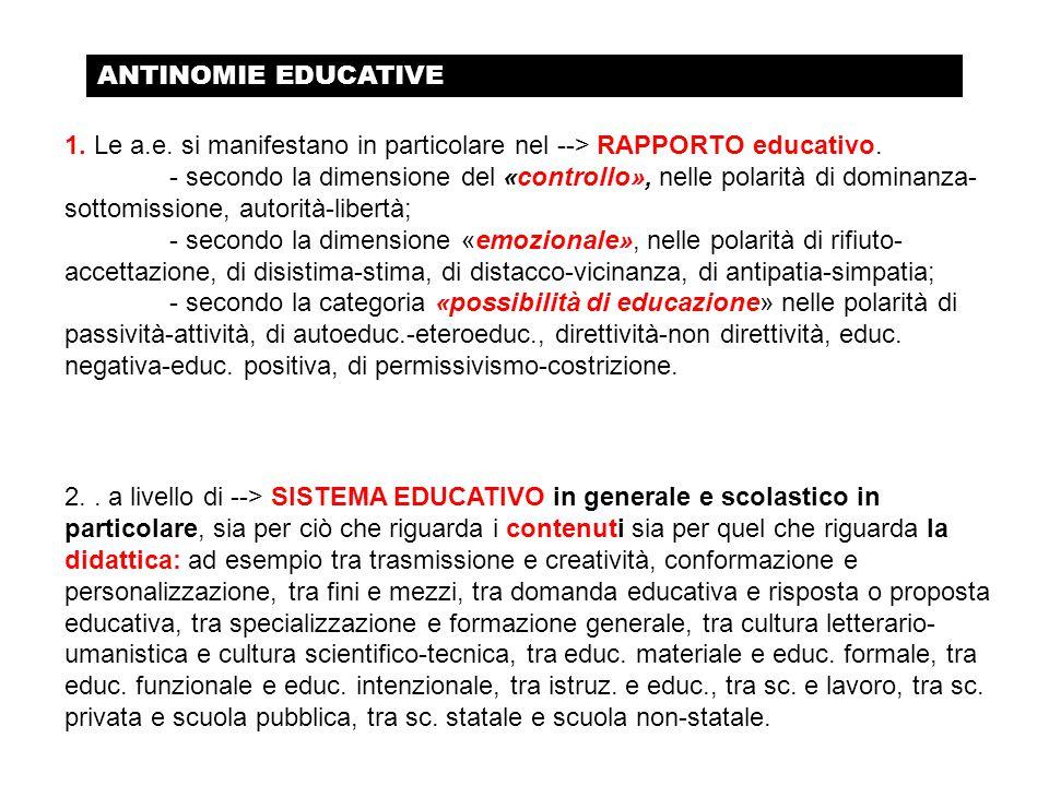 1. Le a.e. si manifestano in particolare nel --> RAPPORTO educativo. - secondo la dimensione del «controllo», nelle polarità di dominanza- sottomissi