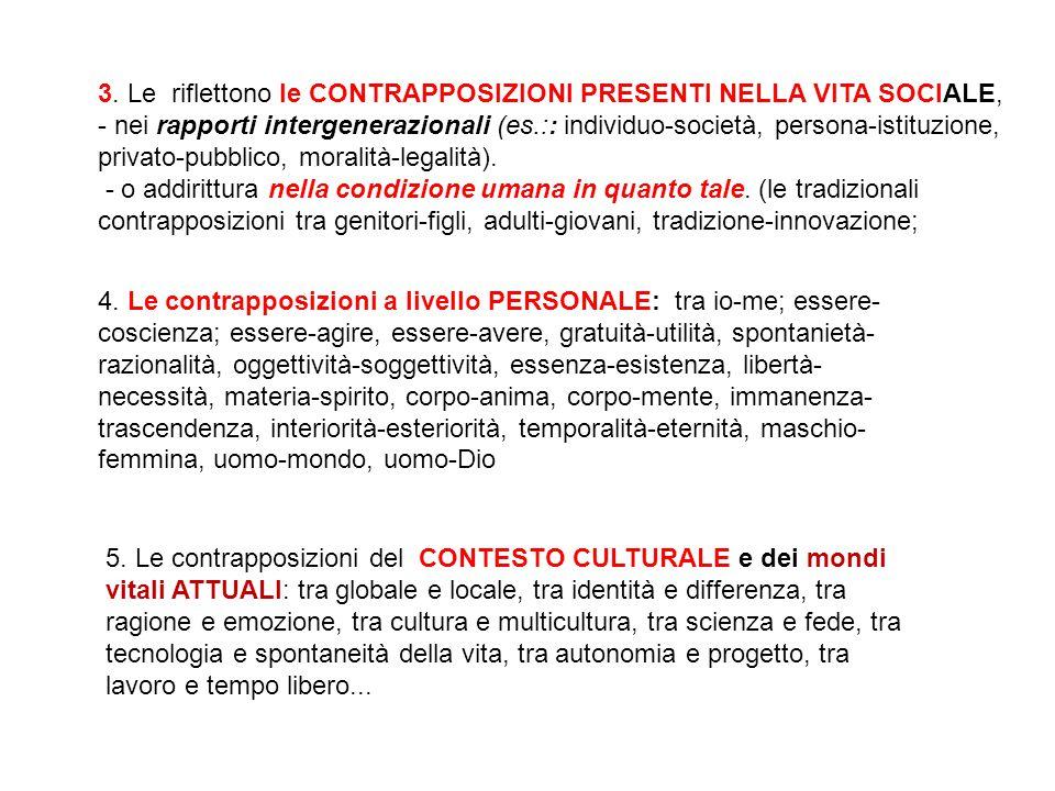3. Le riflettono le CONTRAPPOSIZIONI PRESENTI NELLA VITA SOCIALE, - nei rapporti intergenerazionali (es.:: individuo-società, persona-istituzione, pri