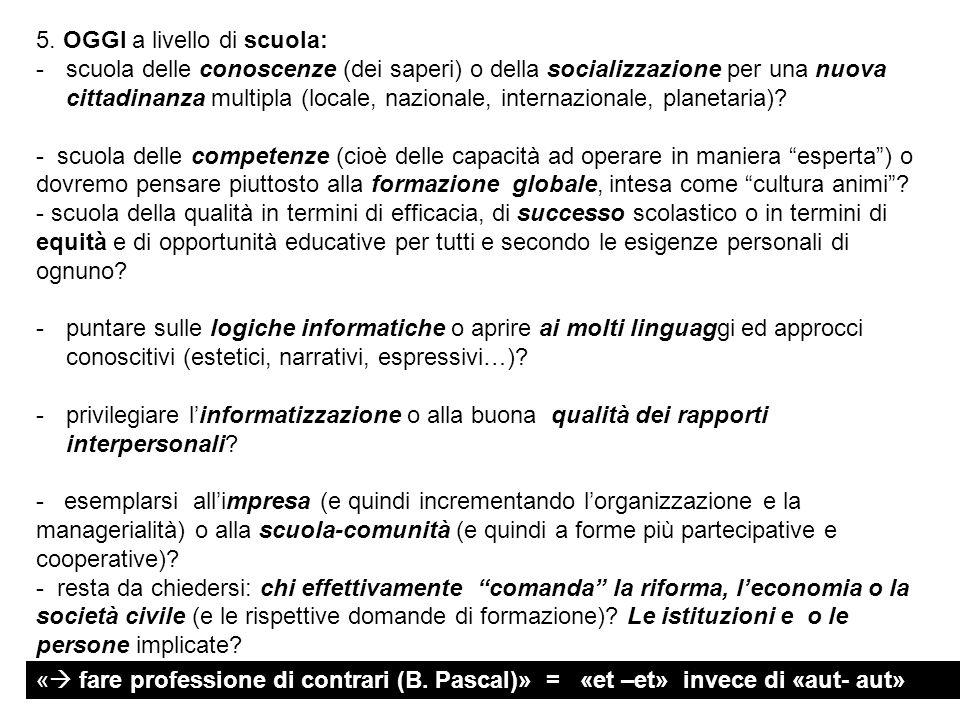 5. OGGI a livello di scuola: -scuola delle conoscenze (dei saperi) o della socializzazione per una nuova cittadinanza multipla (locale, nazionale, int