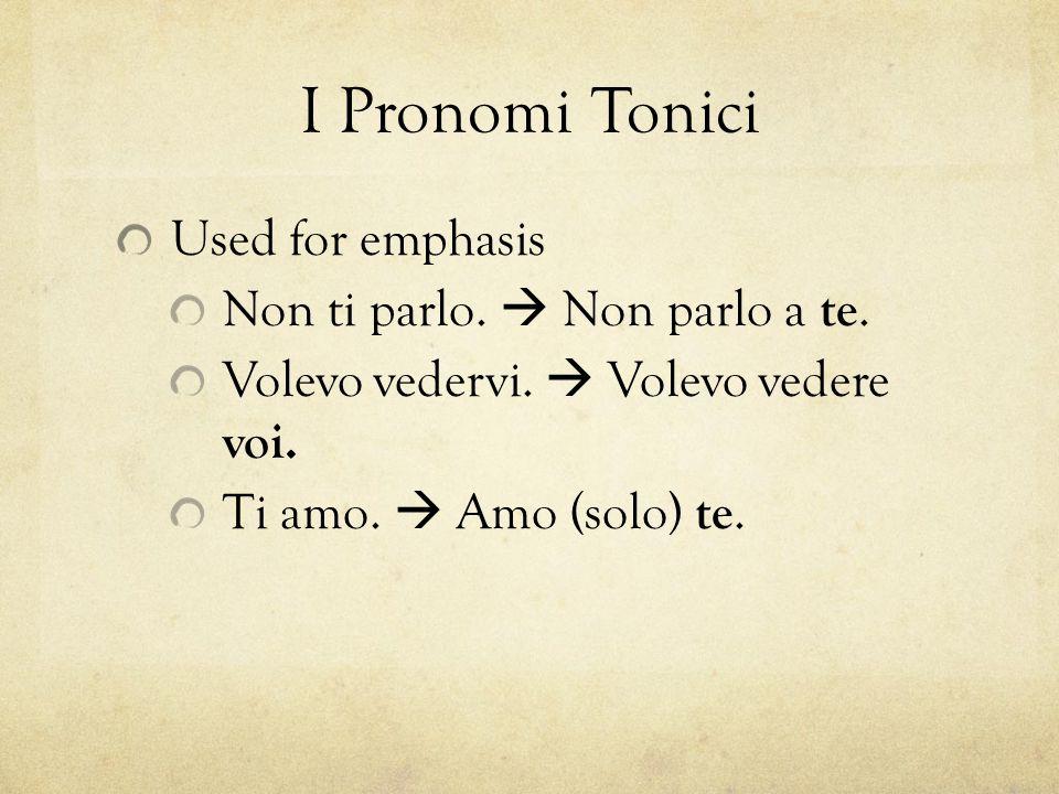 I Pronomi Tonici Also used in some expressions.Come vanno le cose da voi .