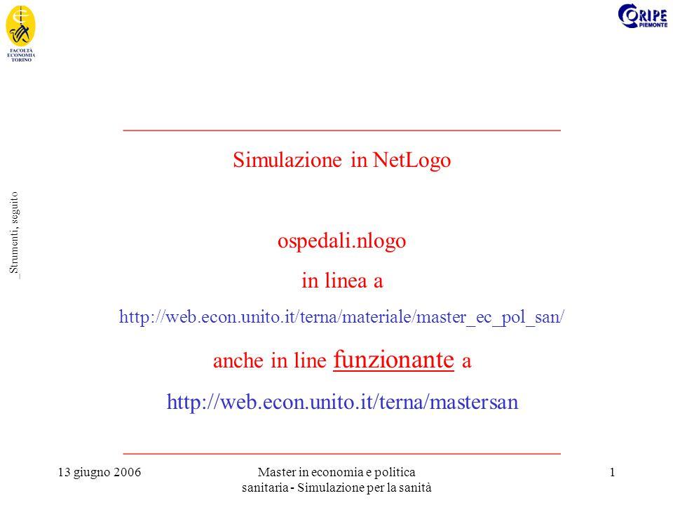 13 giugno 2006Master in economia e politica sanitaria - Simulazione per la sanità 1 _Strumenti, seguito _______________________________________ Simulazione in NetLogo ospedali.nlogo in linea a http://web.econ.unito.it/terna/materiale/master_ec_pol_san/ anche in line funzionante a http://web.econ.unito.it/terna/mastersan _______________________________________