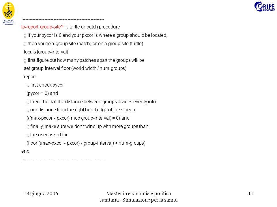 13 giugno 2006Master in economia e politica sanitaria - Simulazione per la sanità 11 ;------------------------------------------------------ to-report group-site.