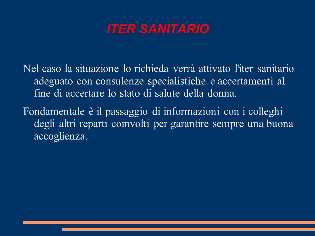 ITER SANITARIO Nel caso la situazione lo richieda verrà attivato l iter sanitario adeguato con consulenze specialistiche e accertamenti al fine di accertare lo stato di salute della donna.