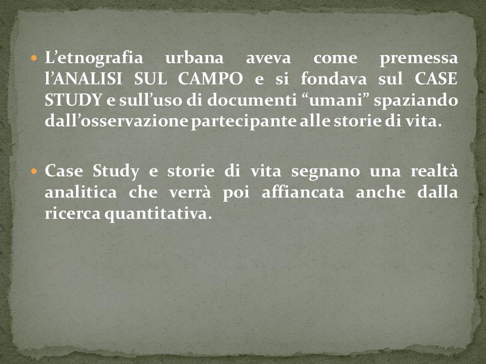 L'etnografia urbana aveva come premessa l'ANALISI SUL CAMPO e si fondava sul CASE STUDY e sull'uso di documenti umani spaziando dall'osservazione partecipante alle storie di vita.