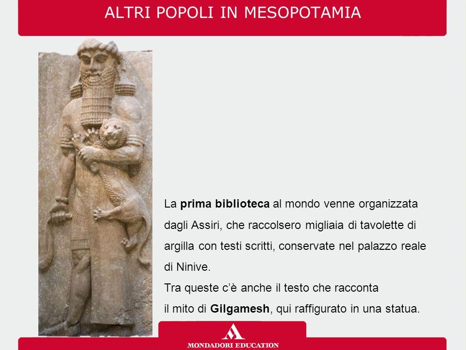 ALTRI POPOLI IN MESOPOTAMIA La prima biblioteca al mondo venne organizzata dagli Assiri, che raccolsero migliaia di tavolette di argilla con testi scr