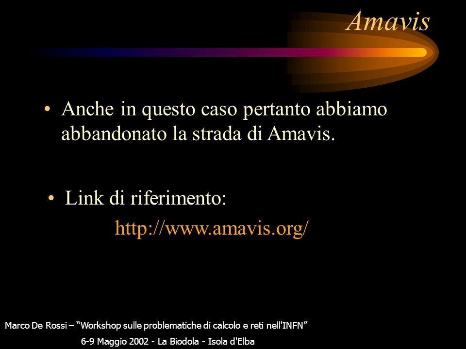 """Amavis Marco De Rossi – """"Workshop sulle problematiche di calcolo e reti nell'INFN"""" 6-9 Maggio 2002 - La Biodola - Isola d'Elba Tra i prerequisiti nece"""
