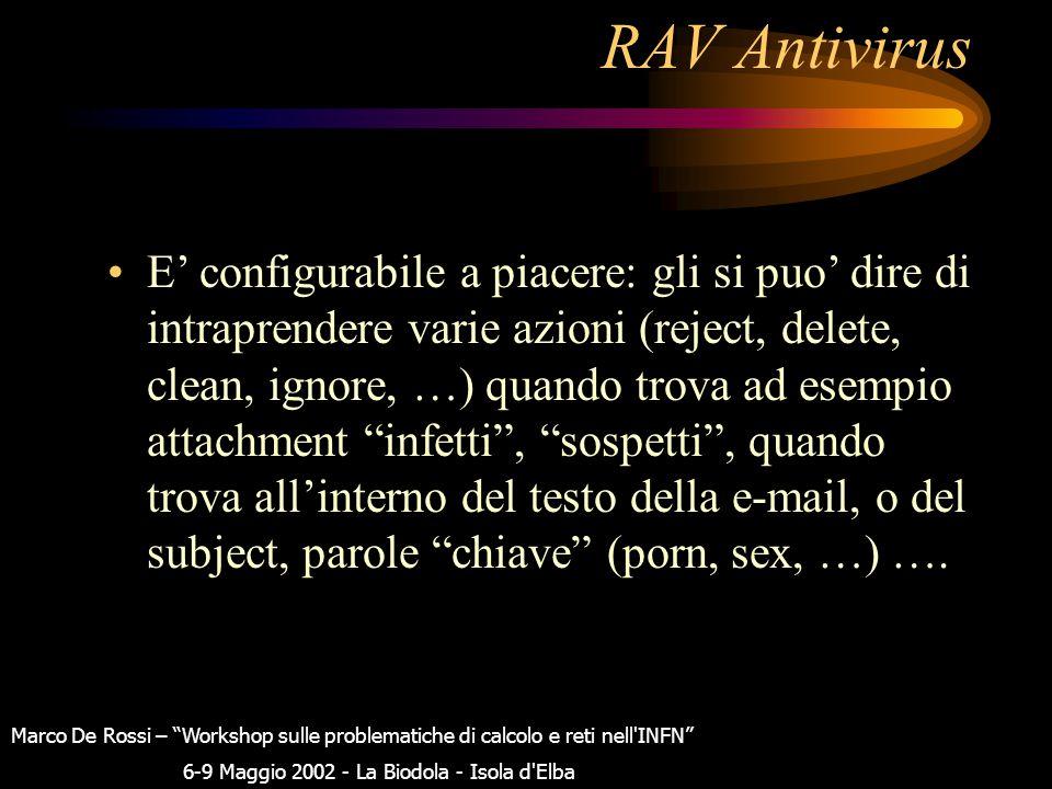 """RAV Antivirus Noi abbiamo installato sul nostro mailserver la versione """"ravmilter per sendmail per linux v8.3.2"""". E' stato installato su di un PC 2µP"""