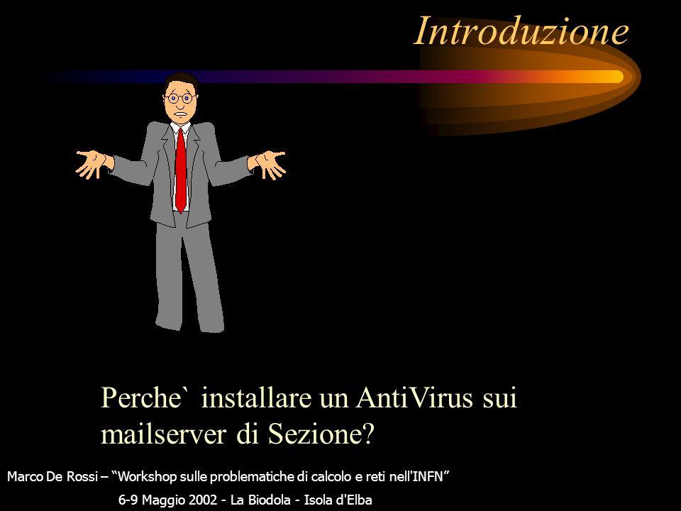 Antivirus per mailserver: RAV Antivirus & altri Marco De Rossi – Workshop sulle problematiche di calcolo e reti nell INFN 6-9 Maggio 2002 - La Biodola - Isola d Elba Marco De Rossi I.N.F.N.