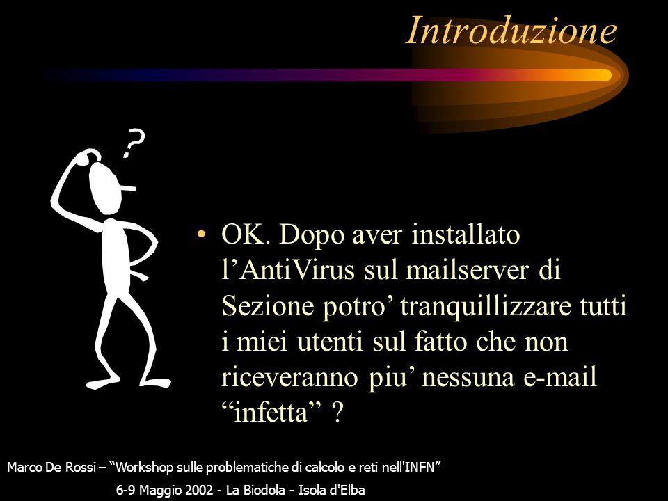 """Introduzione Per cercare di limitare quanto piu' possibile i danni causati dalle e-mail che contengono degli attachment """"pericolosi"""". Marco De Rossi –"""