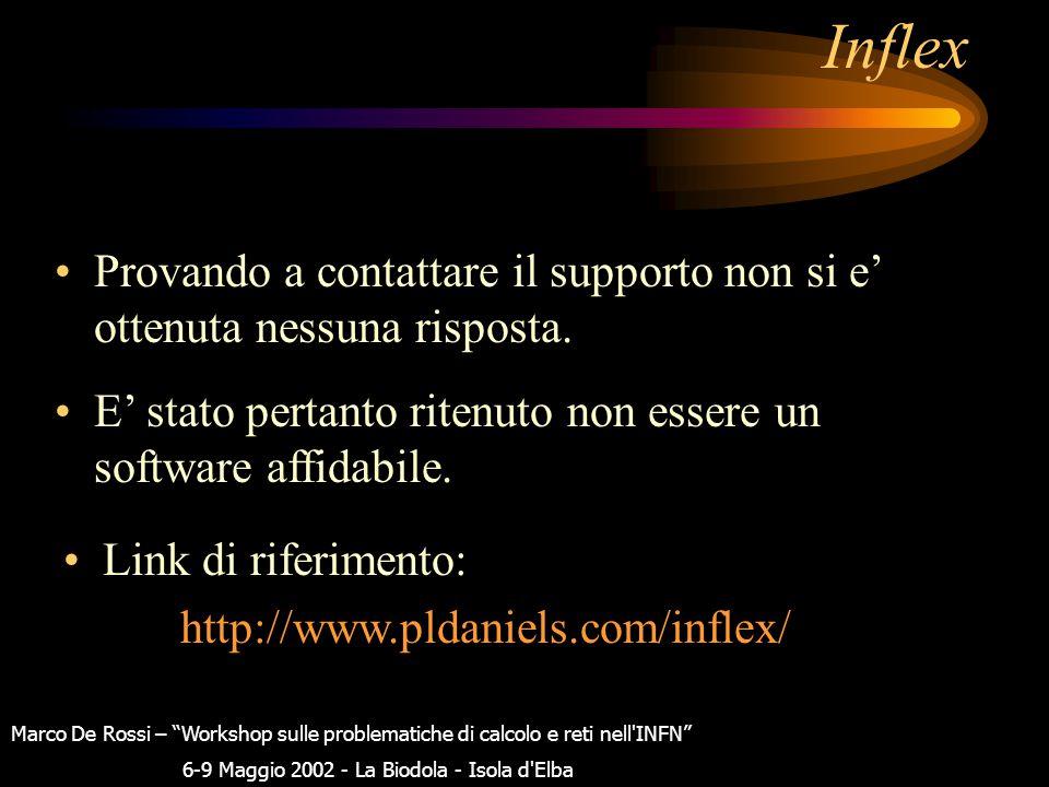 Inflex Provando a contattare il supporto non si e' ottenuta nessuna risposta.