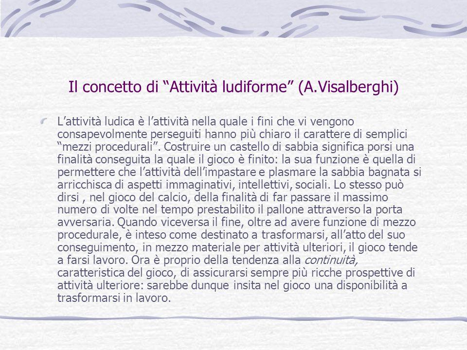 """Il concetto di """"Attività ludiforme"""" (A.Visalberghi) L'attività ludica è l'attività nella quale i fini che vi vengono consapevolmente perseguiti hanno"""