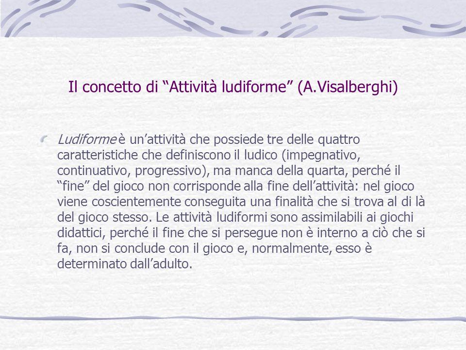 """Il concetto di """"Attività ludiforme"""" (A.Visalberghi) Ludiforme è un'attività che possiede tre delle quattro caratteristiche che definiscono il ludico ("""
