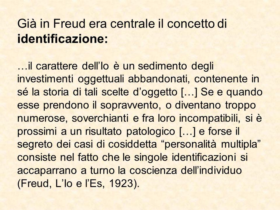 Già in Freud era centrale il concetto di identificazione: …il carattere dell'Io è un sedimento degli investimenti oggettuali abbandonati, contenente i