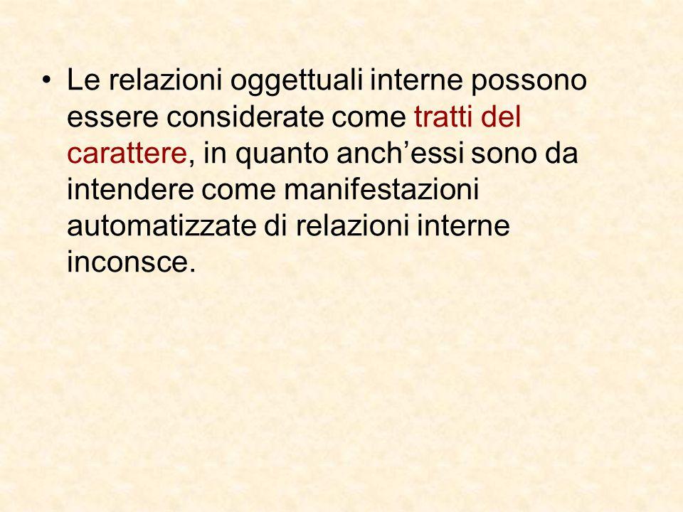 Le relazioni oggettuali interne possono essere considerate come tratti del carattere, in quanto anch'essi sono da intendere come manifestazioni automatizzate di relazioni interne inconsce.