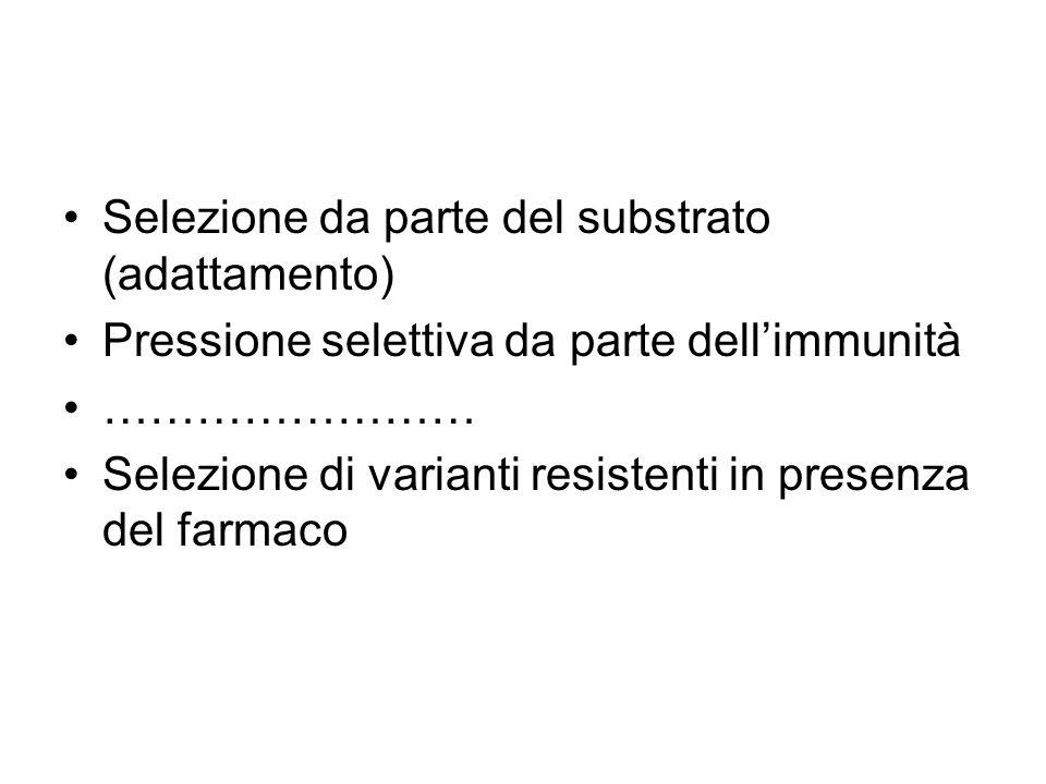 Selezione da parte del substrato (adattamento) Pressione selettiva da parte dell'immunità …………………… Selezione di varianti resistenti in presenza del fa