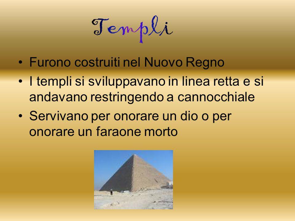 Furono costruiti nel Nuovo Regno I templi si sviluppavano in linea retta e si andavano restringendo a cannocchiale Servivano per onorare un dio o per