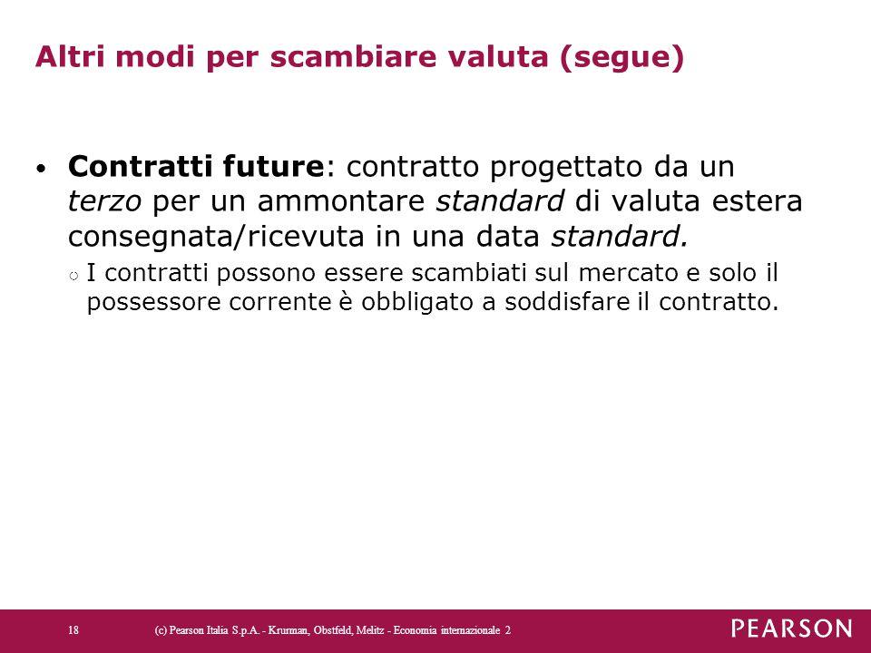 Altri modi per scambiare valuta (segue) Contratti future: contratto progettato da un terzo per un ammontare standard di valuta estera consegnata/ricev