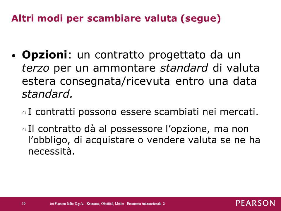 Altri modi per scambiare valuta (segue) Opzioni: un contratto progettato da un terzo per un ammontare standard di valuta estera consegnata/ricevuta en