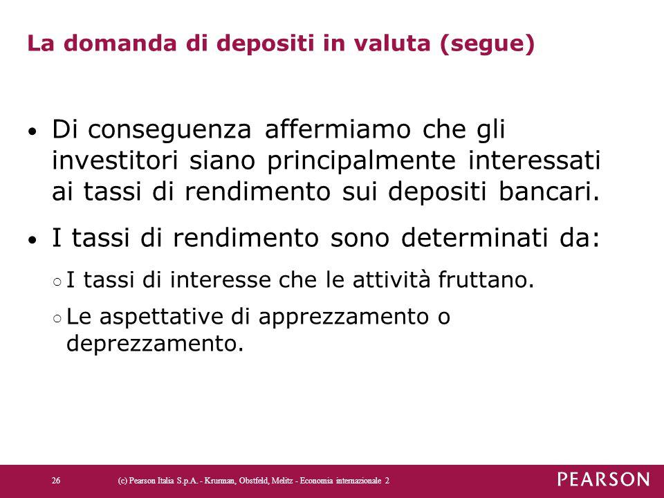 La domanda di depositi in valuta (segue) Di conseguenza affermiamo che gli investitori siano principalmente interessati ai tassi di rendimento sui dep