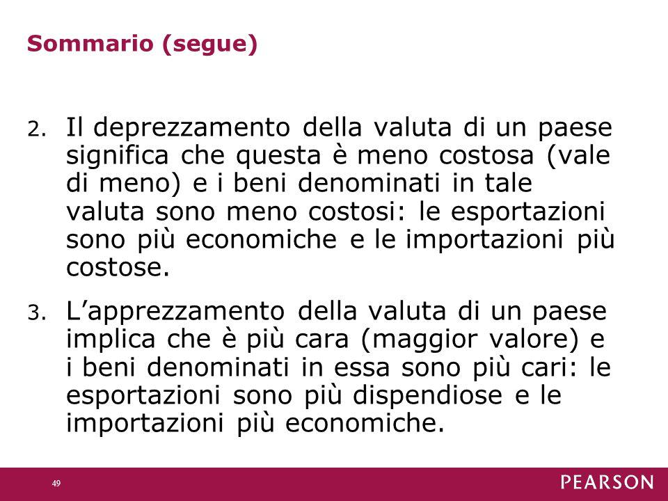 Sommario (segue) 2. Il deprezzamento della valuta di un paese significa che questa è meno costosa (vale di meno) e i beni denominati in tale valuta so