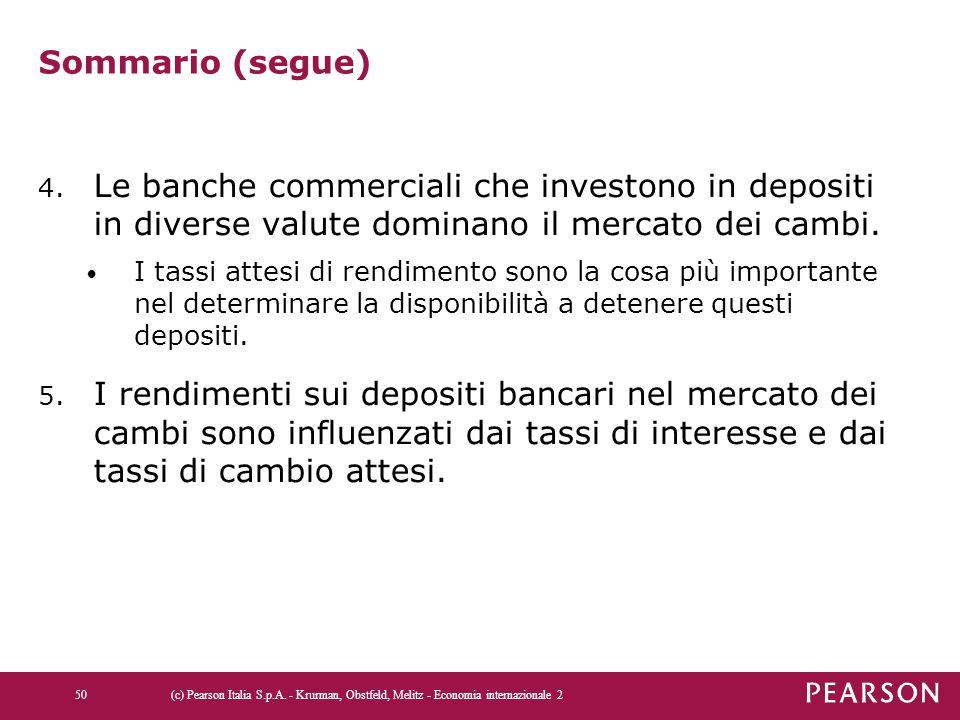 Sommario (segue) 4. Le banche commerciali che investono in depositi in diverse valute dominano il mercato dei cambi. I tassi attesi di rendimento sono