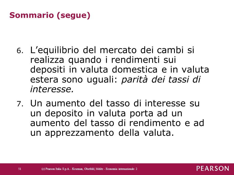 Sommario (segue) 6. L'equilibrio del mercato dei cambi si realizza quando i rendimenti sui depositi in valuta domestica e in valuta estera sono uguali
