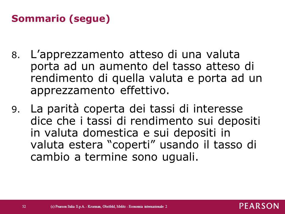 Sommario (segue) 8. L'apprezzamento atteso di una valuta porta ad un aumento del tasso atteso di rendimento di quella valuta e porta ad un apprezzamen