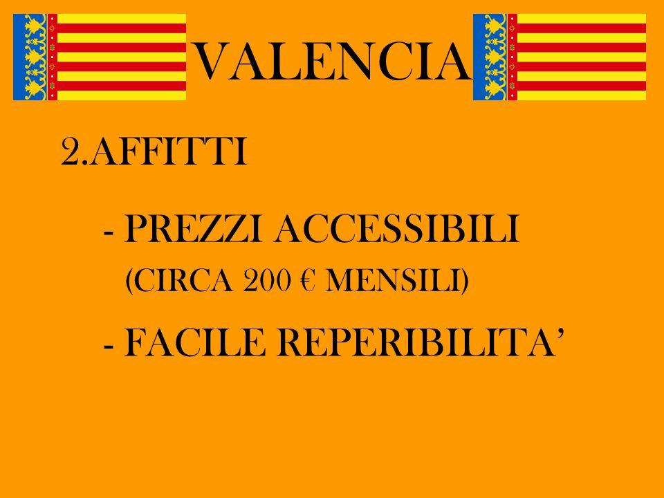 VALENCIA 2.AFFITTI - PREZZI ACCESSIBILI (CIRCA 200 € MENSILI) - FACILE REPERIBILITA'