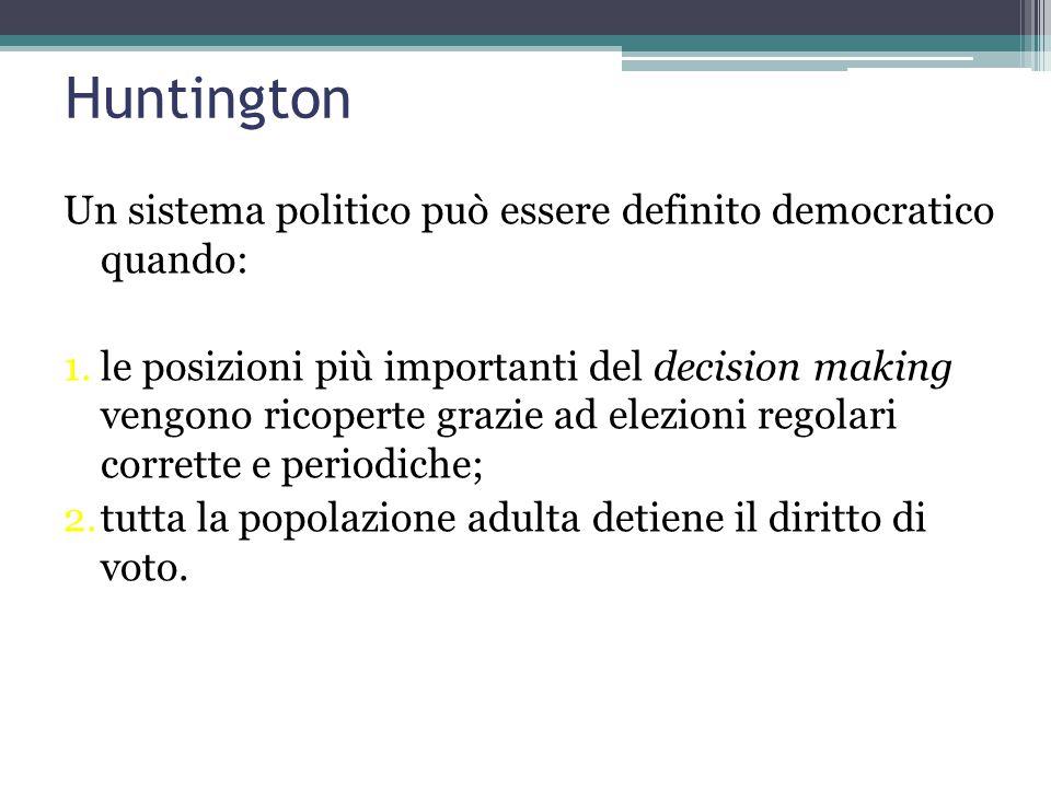 Huntington 1.Legame tra Stato-Nazione e democratizzazione 2.Democratizzazione e sviluppo socio-economico