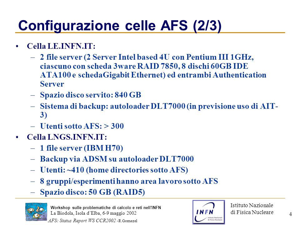 Istituto Nazionale di Fisica Nucleare La Biodola, Isola d'Elba, 6-9 maggio 2002 AFS: Status Report WS CCR2002 - R.Gomezel Workshop sulle problematiche di calcolo e reti nell INFN 4 Configurazione celle AFS (2/3) Cella LE.INFN.IT: –2 file server (2 Server Intel based 4U con Pentium III 1GHz, ciascuno con scheda 3ware RAID 7850, 8 dischi 60GB IDE ATA100 e schedaGigabit Ethernet) ed entrambi Authentication Server –Spazio disco servito: 840 GB –Sistema di backup: autoloader DLT7000 (in previsione uso di AIT- 3) –Utenti sotto AFS: > 300 Cella LNGS.INFN.IT: –1 file server (IBM H70) –Backup via ADSM su autoloader DLT7000 –Utenti: ~410 (home directories sotto AFS) –8 gruppi/esperimenti hanno area lavoro sotto AFS –Spazio disco: 50 GB (RAID5)