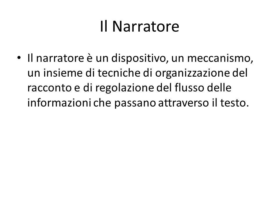 Il Narratore Il narratore è un dispositivo, un meccanismo, un insieme di tecniche di organizzazione del racconto e di regolazione del flusso delle inf